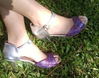 High heel leather handmade shoes / women shoes in silver leather / Model Misia