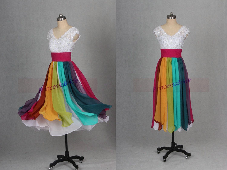2016 Tea Length Rainbow Chiffon Prom Dress With By