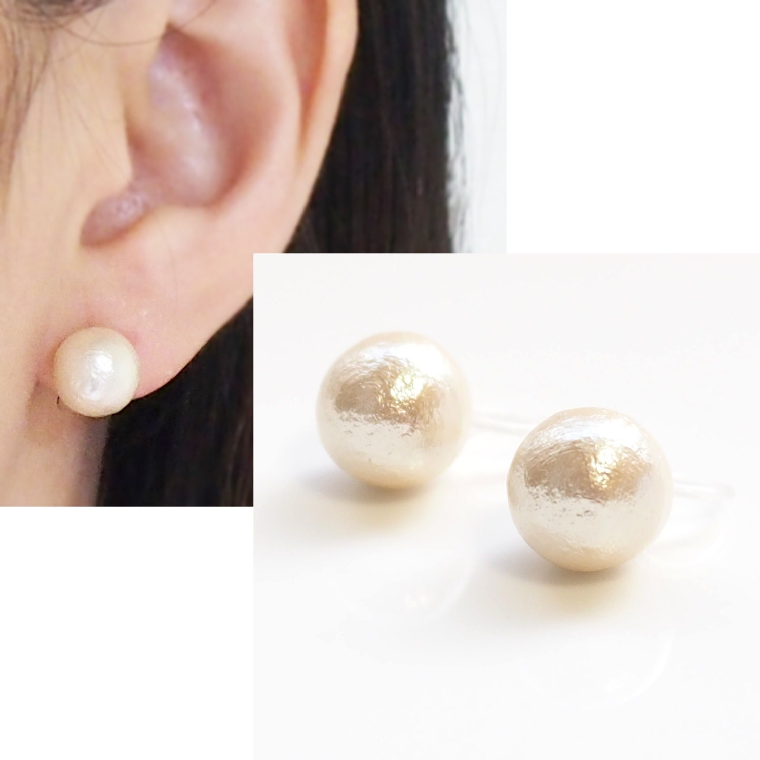 ivory cotton pearl invisible clip on earrings bridal pearl. Black Bedroom Furniture Sets. Home Design Ideas