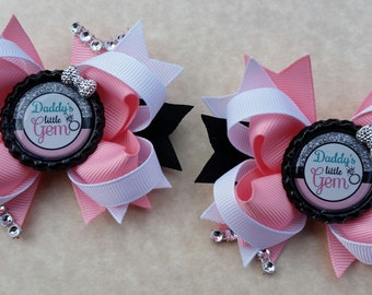 Daddys Little Gem hair bows. Set of 2. Perfect for piggy tails :)