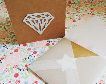 Kraft Blank Greeting Cards / gift cards featuring a glitter detail  (Pk of 6)