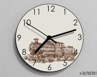 Train Wall Clock - Kids Nursery Room, Teens Room, Baby Room  - Wall Clock