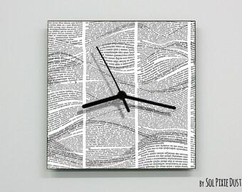 Book Paper Waves Wall Clock