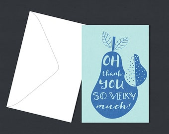 Single Thank you Greeting Card  - pear Illustration - A6