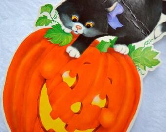 Vintage Halloween Black Cat Die Cut Decoration - Kitten on JOL Pumpkin Hallmark