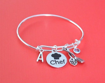 Personalized Chef Bracelet Adjustable with your Initial & Birthstone