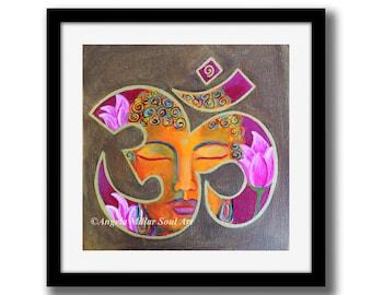 Buddha print - Buddha wall art - Meditation art - Spiritual art - Buddha Ohm - Zen art - Feng shui home decor - Buddhist art - Buddha gift