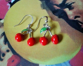 Cherry Earrings,Rockabilly Earrings,Pin Up Style,Kitsch Earrings,Novelty Jewelry,Fruit Accessories,Red Cherry Drops,Rockabilly Jewelry