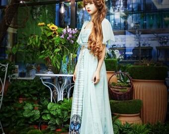 Musical Palmer II, Elegant Vintage Exclusive Designer Goddess Empire Waist 2pcs Regency Concert Prom Dress Set