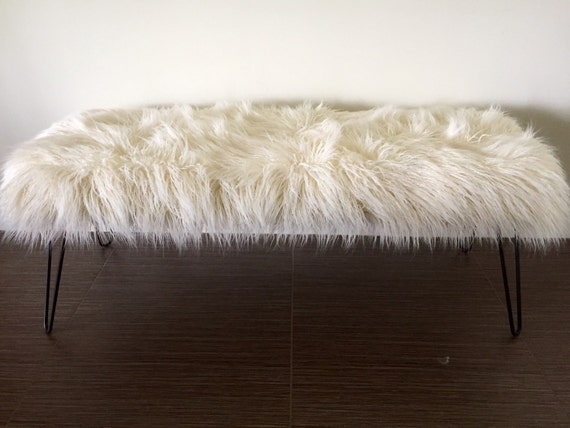 made to order custom mongolian off white faux fur bench with