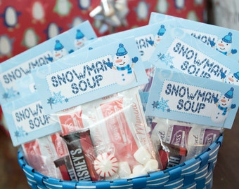 INSTANT DOWNLOAD Snowman Soup Party Favor Labels - Winter ONEderland Birthday Party - Printable Favor Labels - First Birthday - Winter Theme