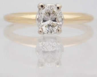 0.47 Carat Oval Cut Diamond Engagement Ring 14K Yellow Gold