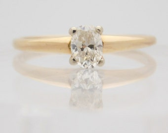 0.44 Carat Ladies Oval Cut Diamond Engagement Ring 14K Yellow Gold
