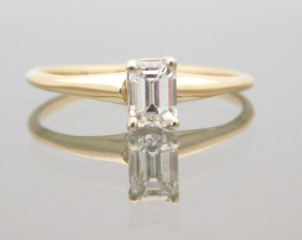 0.44 Carat Certified Emerald Cut Diamond Solitaire Ring 14K Yellow Gold