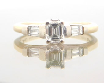 0.76 Carat T.W. Emerald & Baguette Cut Diamond Engagement Ring 14K White Gold