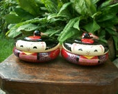 1950s 2 Pcs. Vintage Japanese Girl Wood And Lacquer Kokeshi Trinket Or Powder Box Single Tier