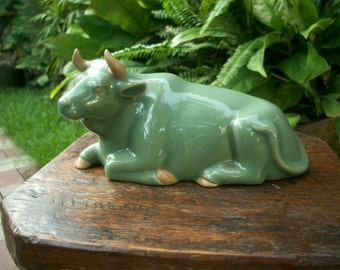 1960s Vintage Japanese Shadow Blue Green Glaze Celadon Laying Cow