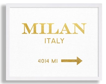 Milan Art Print Faux Gold Foil Print High Fashion Wall Art White and Gold Milan Italy Gold Art Gold Prints Gold Foil Poster Gold Leaf Print