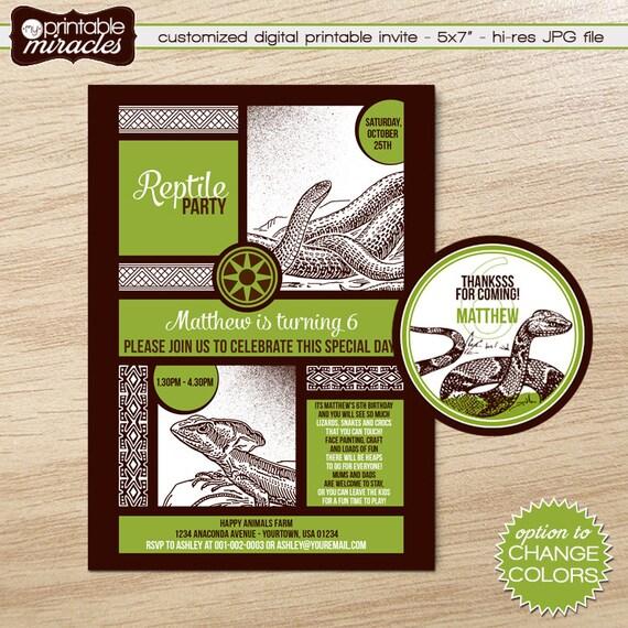 Reptile Invitation Printable Birthday Invite