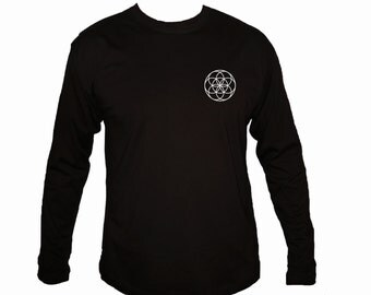 Sacred geometry Seed of life Kabbalah symbols black customized sleeved t-shirt S-2XL