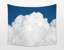 Sky Tapestry, Clouds Wall Art, Blue White Decor, Large Wall Hanging