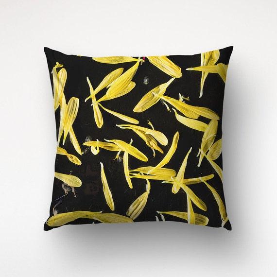 Yellow Floral Pillow, Flower Petals Art, Yellow Black Pillows, Photo Printed