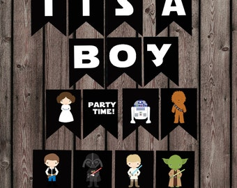 star wars baby shower banner, its a boy banner, star wars kid characters digital banner, printable file, instant download at purchase