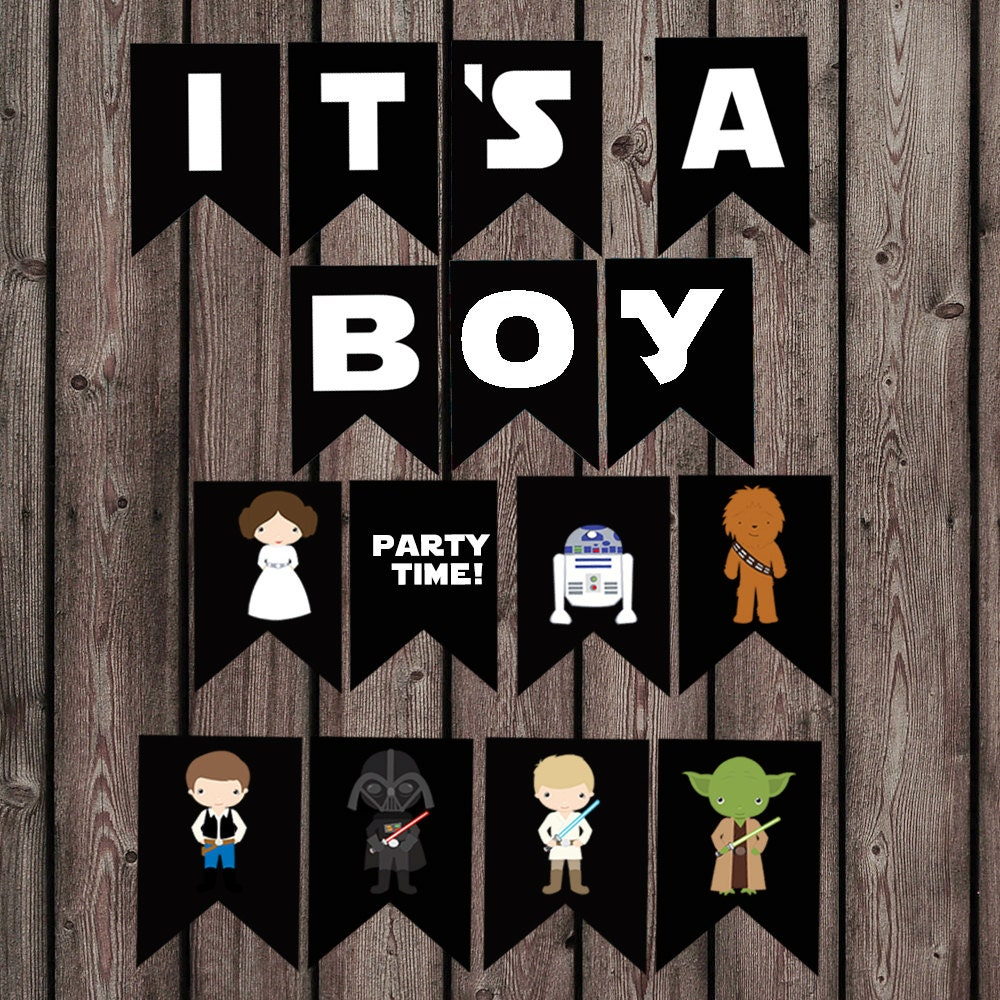 star wars baby shower banner its a boy banner star wars kid