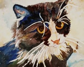 Tuxedo tomcat watercolor print. Cat portrait. Watercolor art. Watercolor cat. Watercolor animal. Cat wall art. Tuxedo cat. Cat painting.