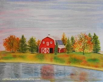 Original Fall Barn Landscape Watercolor Painting. Barn Painting. Country decor. Watercolor art. Fall trees. Autumn Landscape. Barn wall art.
