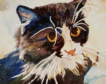 Tuxedo tomcat watercolor print. Cat portrait. Watercolor art. Watercolor cat. Watercolor animal. Cat wall art. Tuxedo cat. Cat painting.