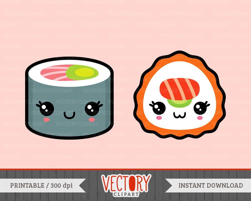 13 Kawaii Sushi Clipart Cute Sushi Clipart Sushi by ...