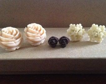 Set of Vintage Style Rose/Flower Stud/Post Earrings