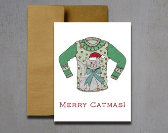 Merry Catmas Ugly Sweater Christmas Card - Christmas Cards - Ugly Sweater Christmas Cards - Holiday Cards - Merry Catmas Christmas Card