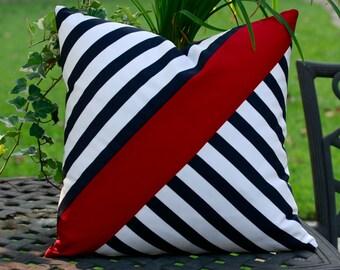Black & White Cross Body Stripe w/ Burgundy Sash Pillow Cover