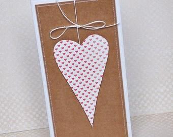 Handmade Valentine Card, Heart card, Love card, Valentine greeting card