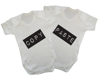 Copy and Paste-funny cute babygrow bodysuit Twin set
