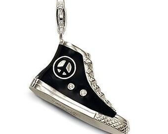 charms argent sport converse noire,Bracelet Charm,sterling silver charm,Bracelet européen,pendentif, Style Européen à breloques