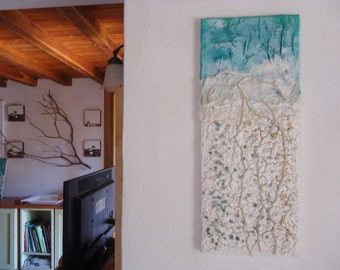 "Original textured abstract mixed media painting suitable for a modern interior.-Title""Light Breeze""-Size 7,87""x15,74"""