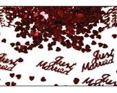 Burgundy Just Married table confetti, weddings, wedding supplies, wedding decorations, table decorations, UK seller