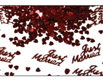 Burgundy Just Married table confetti, weddings, wedding supplies, wedding decorations, table decorations, UK seller