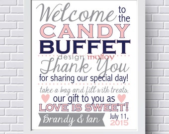 Candy Buffet Sign, Candy Bar Sign, Wedding Candy Buffet Sign, Love is Sweet, Wedding Signage, Wedding Decor, Customized VERTICAL Print