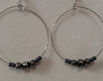 Silver Plated Gun Barrel Beaded Earrings