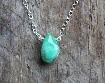 Chrysoprase Stone Teardrop Necklace with a Silver Filled Chain