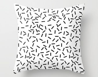 Throw pillow cover - cushion cover - black confetti sprinkles - black and white