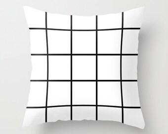 Black & white grid cushion cover - throw pillow - home decor - squares black