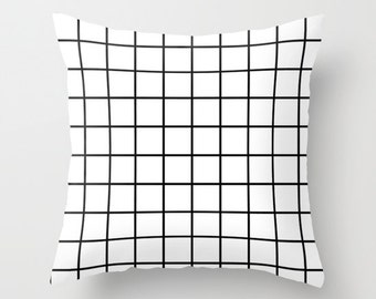Black & white grid cushion cover - throw pillow - home decor - squares black