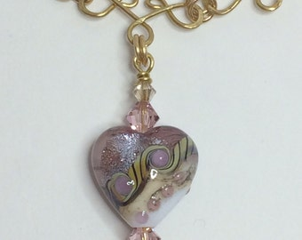 Grace Lampwork Heart Necklace embellished with Swarovski crystals