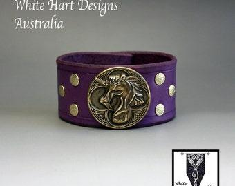 Unicorn Wrist Cuff in Purple Leather and Pure Brass 19cm Immediate Shipping