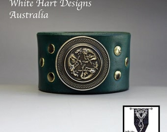 Celtic Hounds Wrist Cuff in Dark Green Leather and Pure Brass